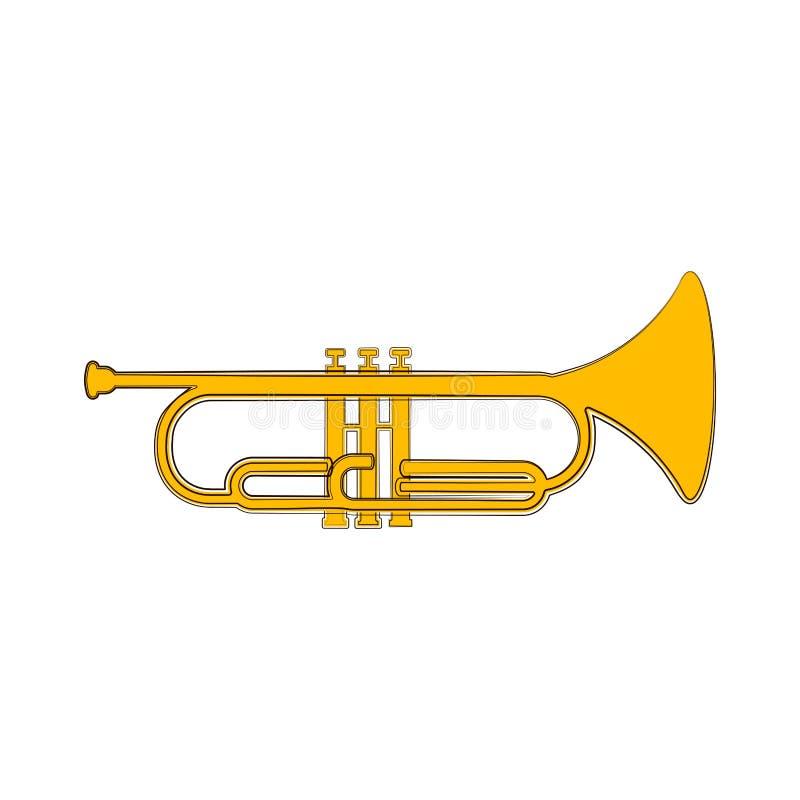 Odosobniony kornetu nakreślenie hornsection instrument muzyczny części saksofon ilustracji