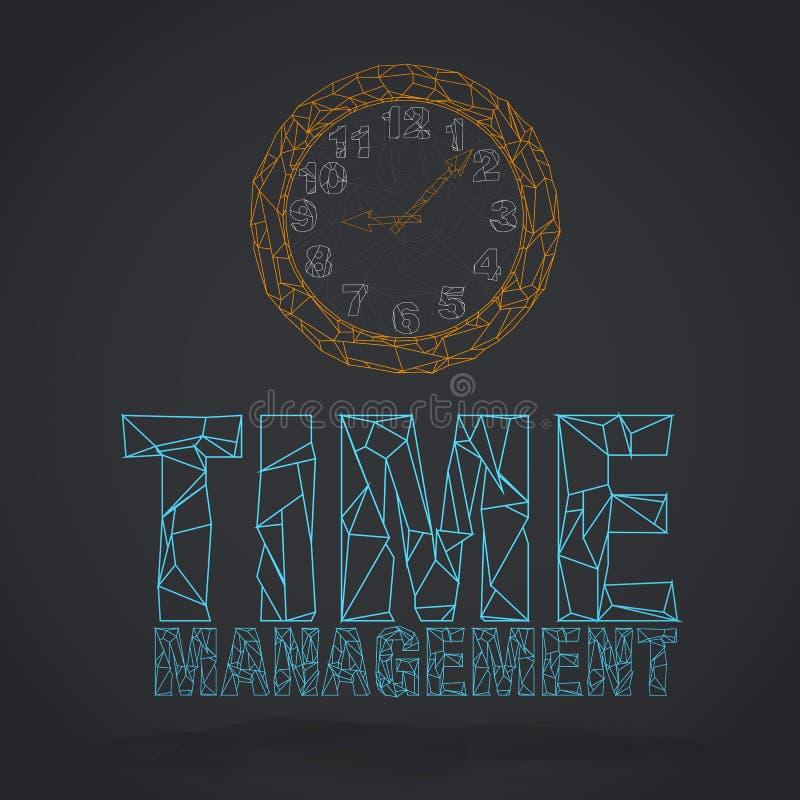 Odosobniony kreskowy pomarańcze zegar, słowa i: czasu zarządzanie ilustracja wektor