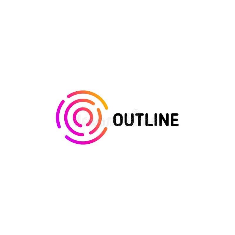 Odosobniony kropkowany kreskowej sztuki loga szablon Abstrakcjonistyczny liniowy logotyp Kolorowa geometryczna ikona Kontur wprow ilustracji