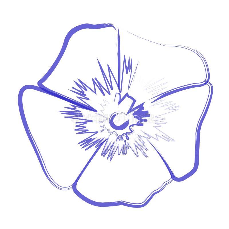 Odosobniony kwiatu kontur ilustracji