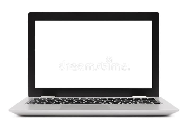 Odosobniony laptop z pustym ekranem na bielu fotografia royalty free