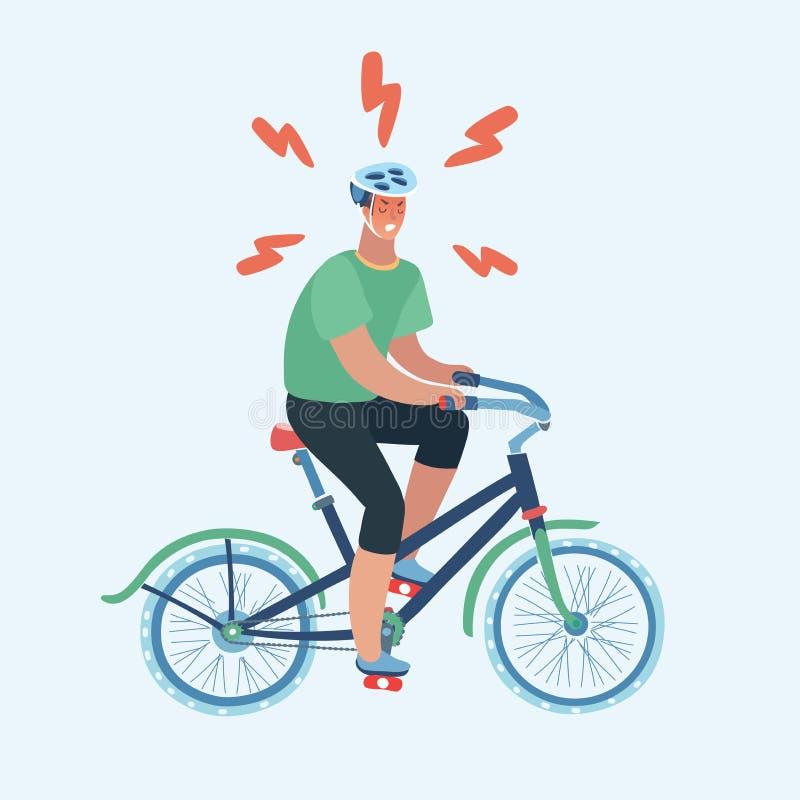 Odosobniony mężczyzna jazdy roweru projekt ilustracja wektor