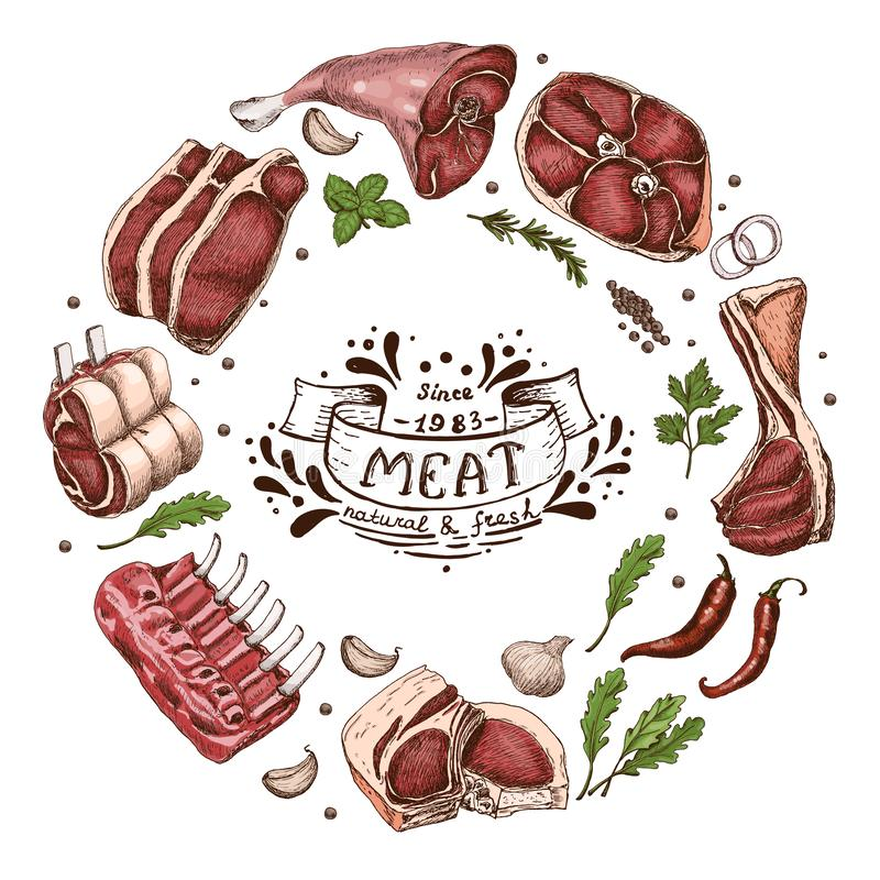Odosobniony mięsny okrąg ilustracji