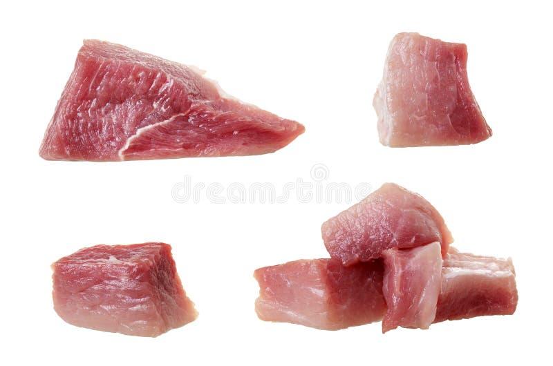 odosobniony mięsny surowy Set grupowi mięśni kawałki wieprzowina lub wołowina odizolowywający na białym tle fotografia stock