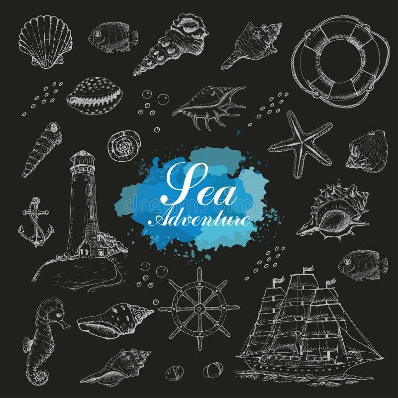 Odosobniony morze protestuje na czarnym tle Skorupy, rozgwiazda, kotwica, latarnia morska, ryba, statek royalty ilustracja