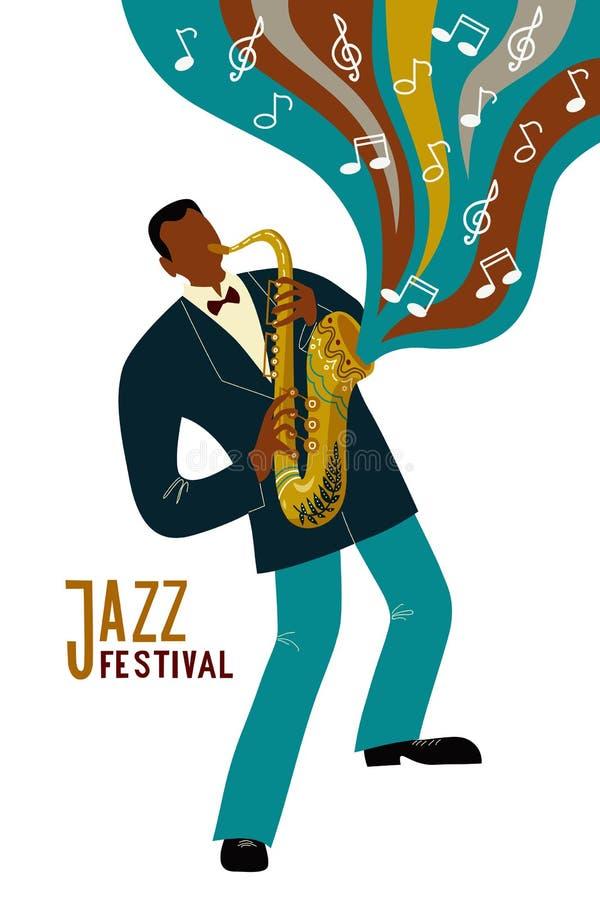 Odosobniony murzyn bawić się saksofon postaci z kreskówki i notatek, płaski doodle wektor ilustracja wektor