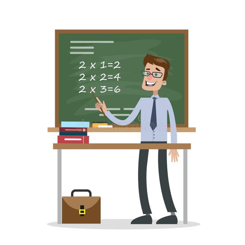Odosobniony nauczyciel matematyki ilustracji