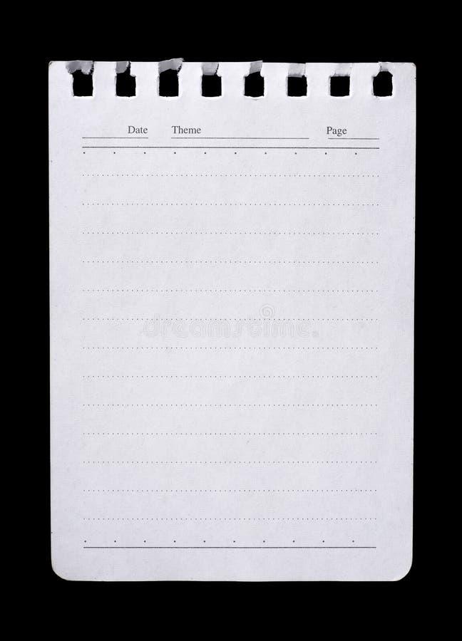 odosobniony notatnika strony papieru biel obrazy royalty free