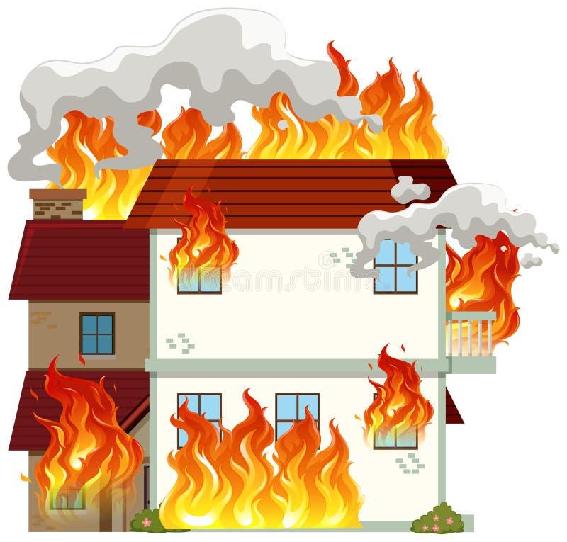Odosobniony nowożytny dom na ogieniu ilustracji