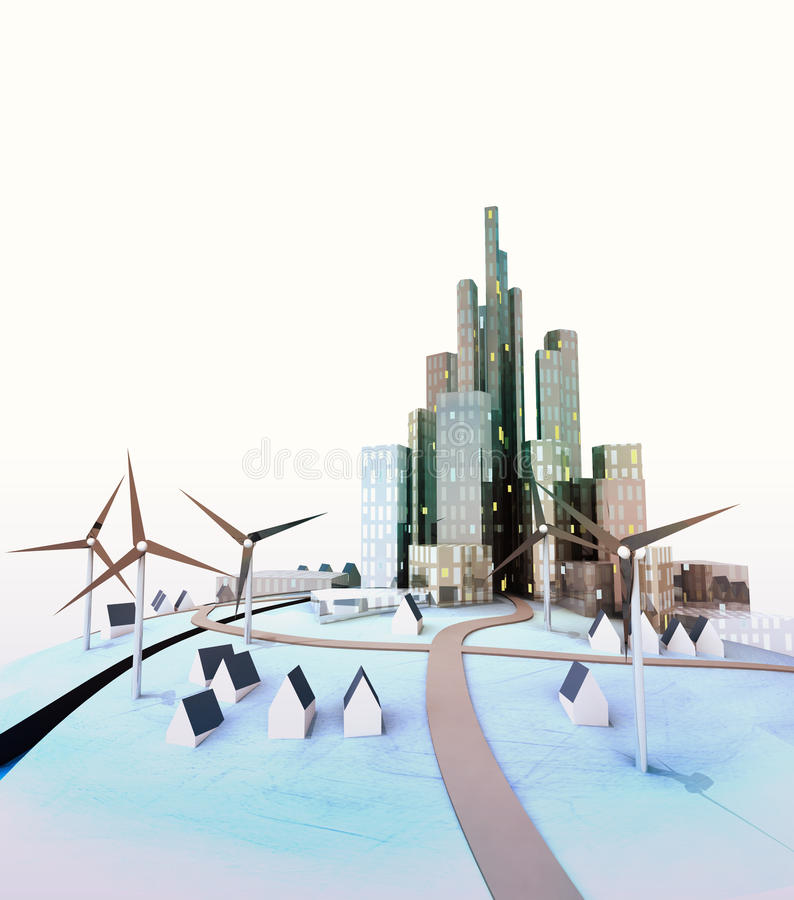 Odosobniony nowożytny pejzaż miejski z wiatraczkami przy światłem dziennym ilustracja wektor