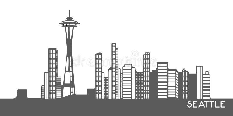 Odosobniony pejzaż miejski Seattle ilustracji