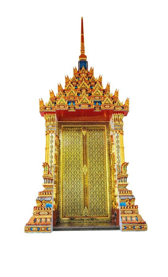 Odosobniony piękny dekorujący drzwi Tajlandia świątynia obrazy stock