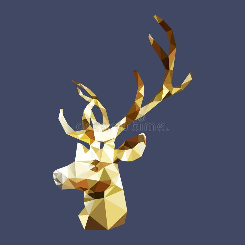 Odosobniony poligonalny złoty jeleń, geometryczny wieloboka rogacza zwierzę royalty ilustracja