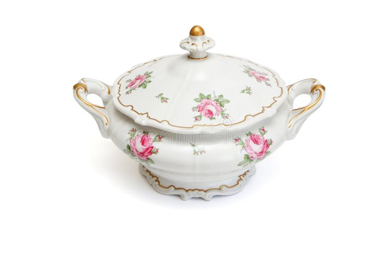 odosobniony porcelany tureen rocznik zdjęcia royalty free