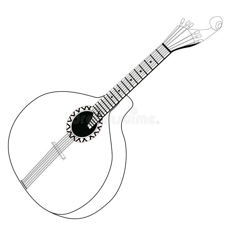 Odosobniony portuguese gitara kontur royalty ilustracja