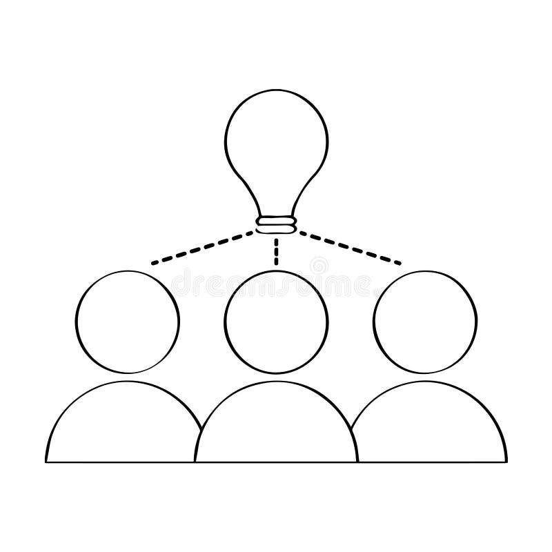 Odosobniony praca zespołowa kontur brainstorming ilustracji
