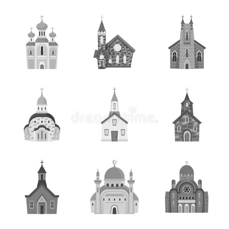 Odosobniony przedmiot architektura i wiary ikona Set architektura i tradycyjna akcyjna wektorowa ilustracja ilustracji