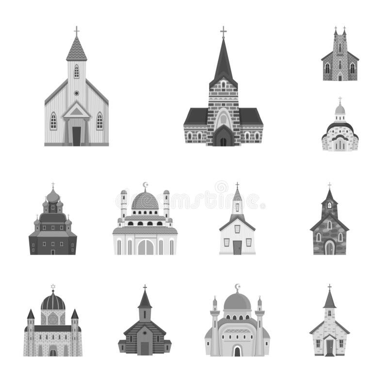 Odosobniony przedmiot architektura i wiary ikona Set architektura i tradycyjny akcyjny symbol dla sieci ilustracja wektor