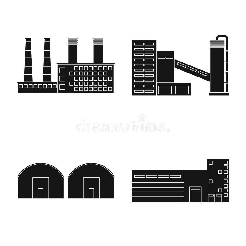 Odosobniony przedmiot architektury i technologii symbol Set architektura i budynek wektorowa ikona dla zapasu ilustracji