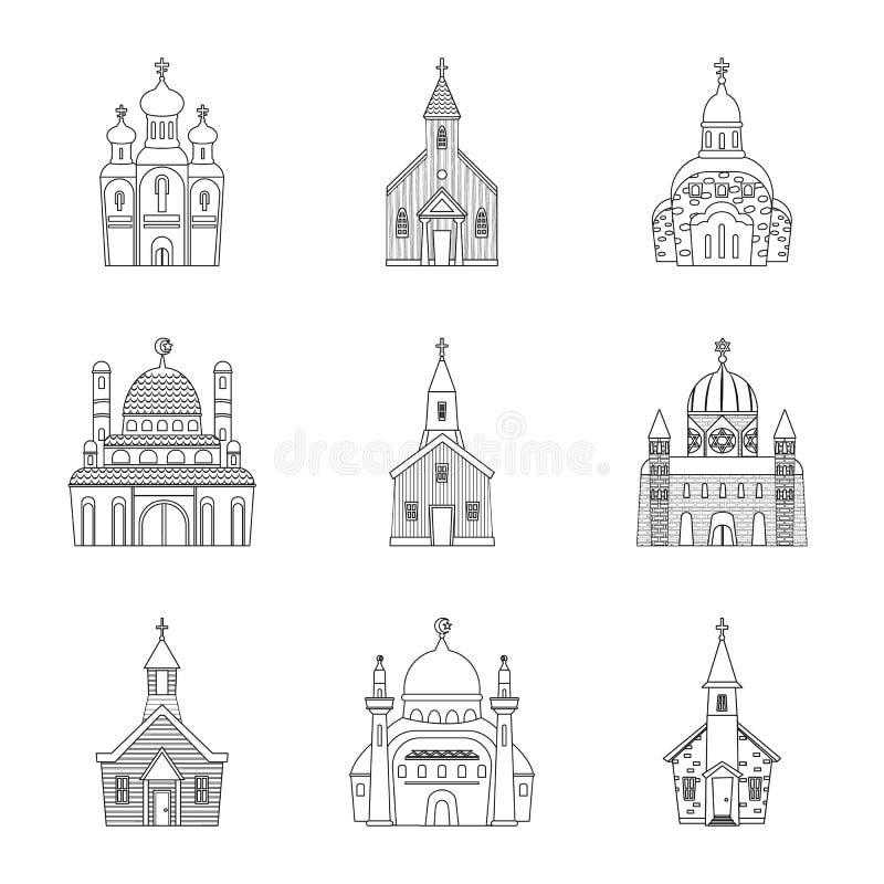 Odosobniony przedmiot architektury i wiary symbol Kolekcja architektura i ?wi?tyni wektorowa ikona dla zapasu royalty ilustracja
