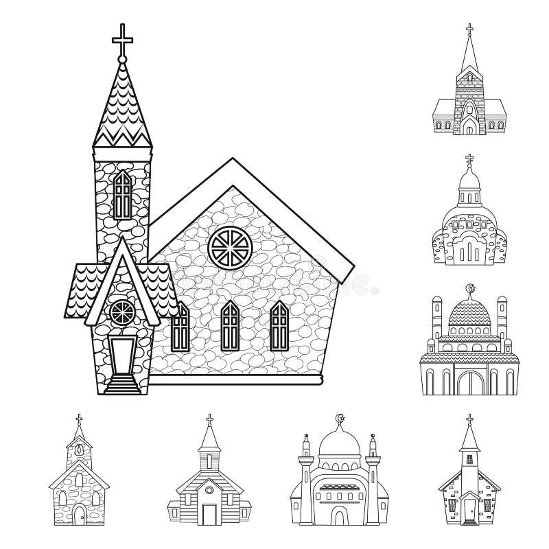 Odosobniony przedmiot architektury i wiary znak Set architektura i ?wi?tyni akcyjna wektorowa ilustracja royalty ilustracja