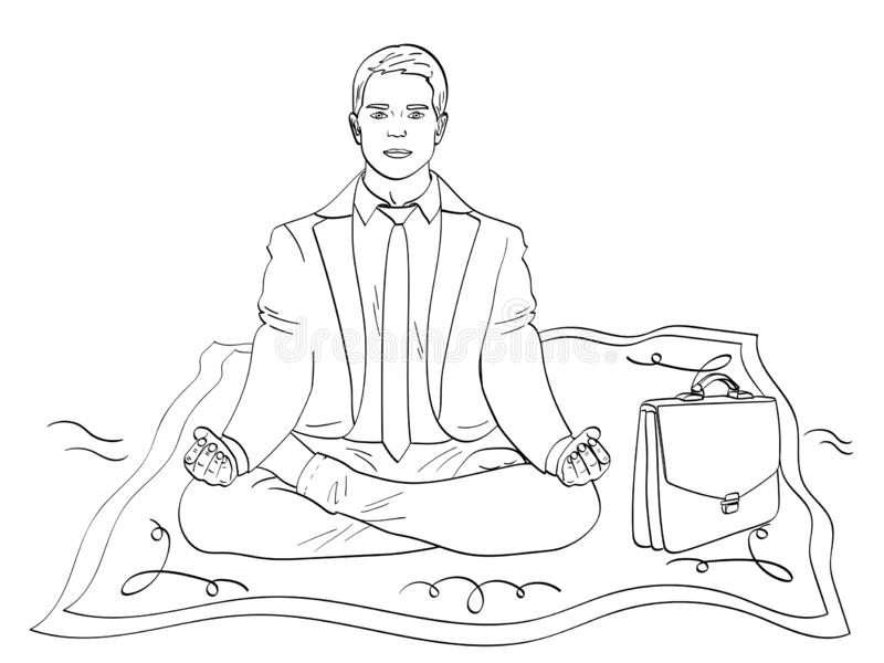 Odosobniony przedmiot barwi, czarne linie, biały tło Biznesmen na dywanie, medytacja mężczyzna lata pracować ilustracja wektor