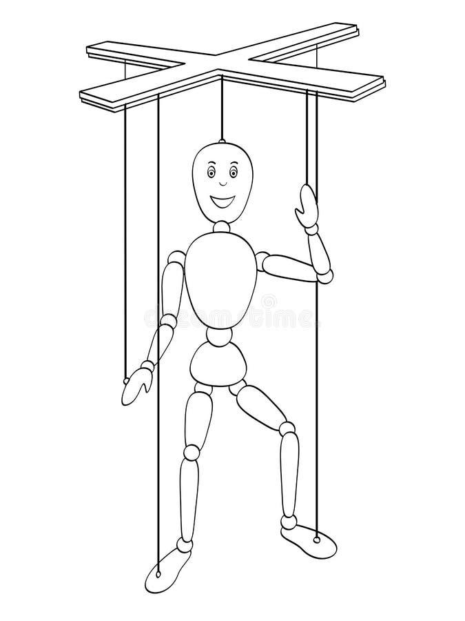 Odosobniony przedmiot barwi, czarne linie, biały tło Przedmiot jest zabawkarskim mężczyzna, kukła na nici wektor ilustracja wektor