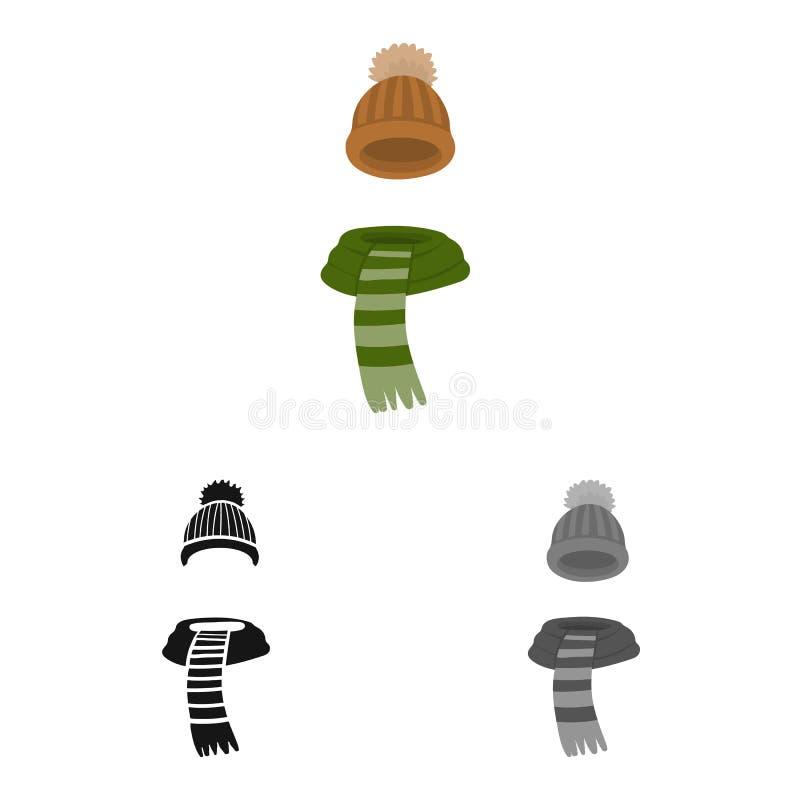 Odosobniony przedmiot beanie i szalika logo Kolekcja beanie i nakr?tki akcyjny symbol dla sieci ilustracji