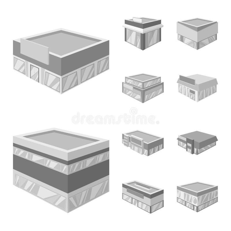 Odosobniony przedmiot budowy i gabloty wystawowej logo Kolekcja budowy i architektury akcyjna wektorowa ilustracja royalty ilustracja