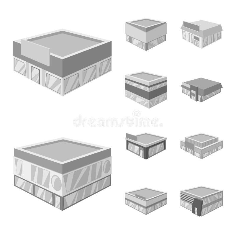 Odosobniony przedmiot budowy i gabloty wystawowej logo Kolekcja budowy i architektury akcyjny symbol dla sieci ilustracja wektor