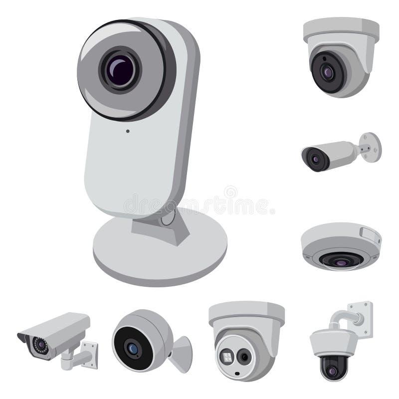 Odosobniony przedmiot cctv i kamery ikona Kolekcja cctv i systemu akcyjny symbol dla sieci ilustracji