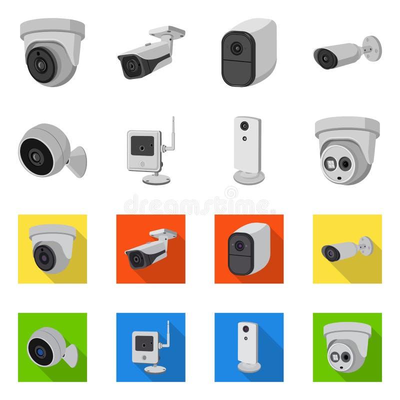 Odosobniony przedmiot cctv i kamery symbol Set cctv i systemu akcyjny symbol dla sieci ilustracja wektor