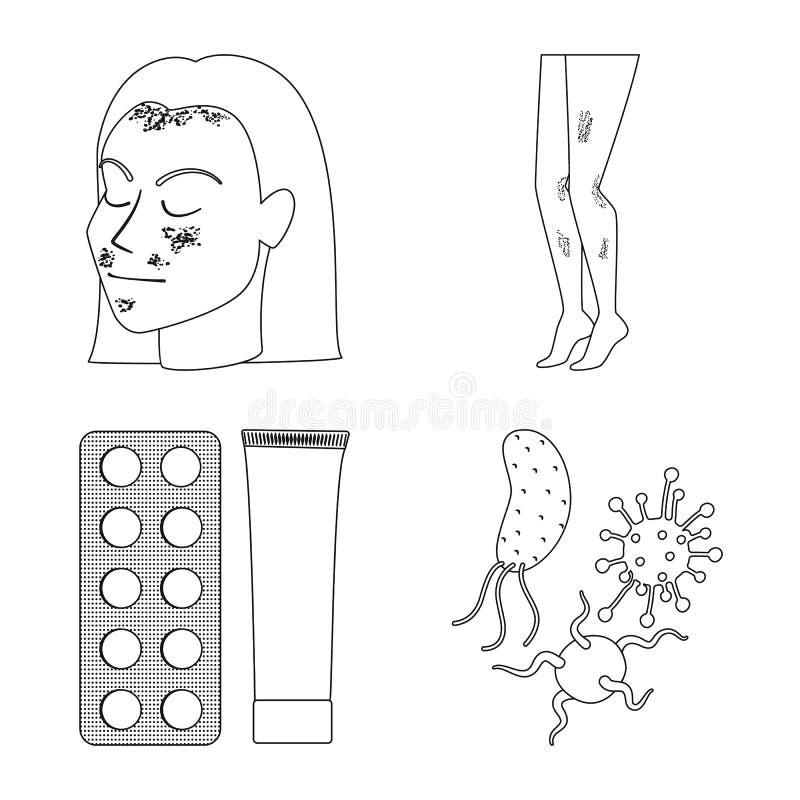 Odosobniony przedmiot choroby i opieki zdrowotnej logo Kolekcja choroba i b?lowy akcyjny symbol dla sieci ilustracja wektor