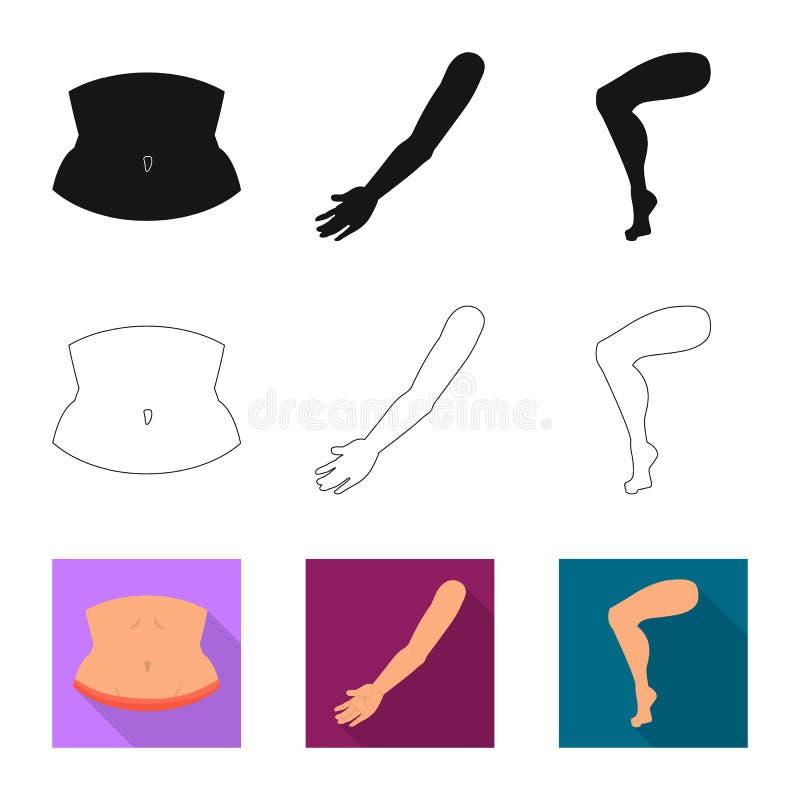 Odosobniony przedmiot cia?a i cz??ci ikona Set cia?a i anatomii akcyjna wektorowa ilustracja ilustracja wektor