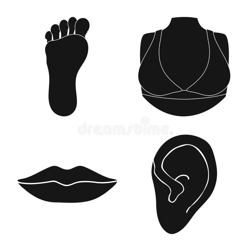 Odosobniony przedmiot cia?a i cz??ci logo Set cia?a i anatomii akcyjny symbol dla sieci royalty ilustracja