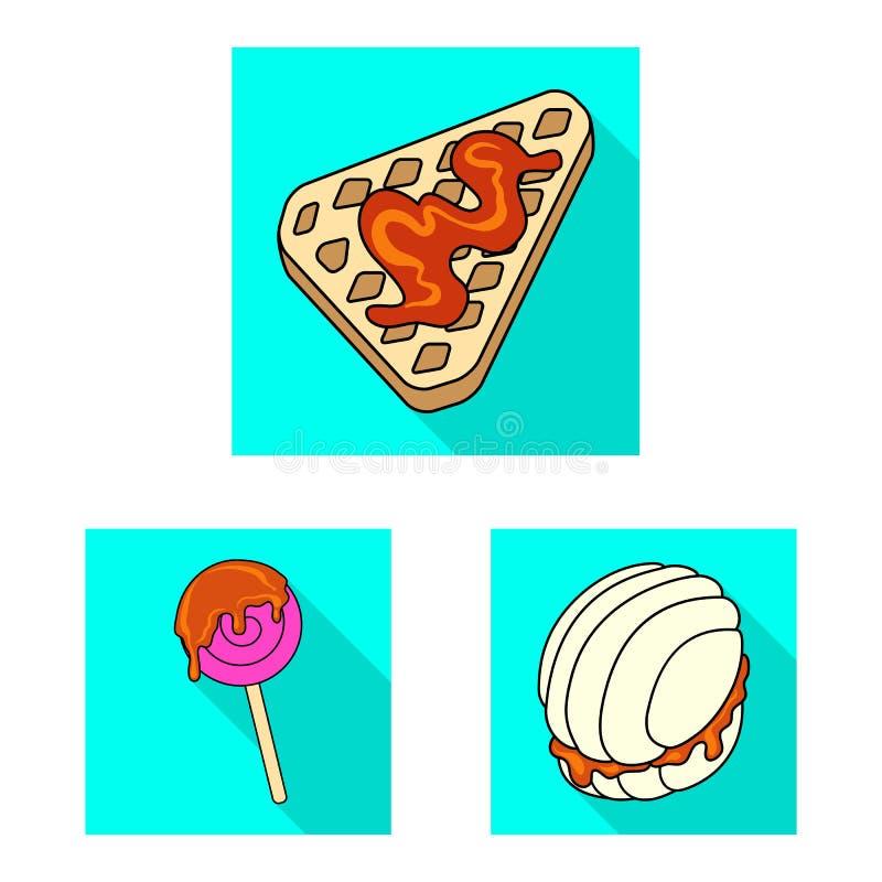 Odosobniony przedmiot ciasteczko i kulinarny logo Set ciasteczko i kolorowa wektorowa ikona dla zapasu royalty ilustracja
