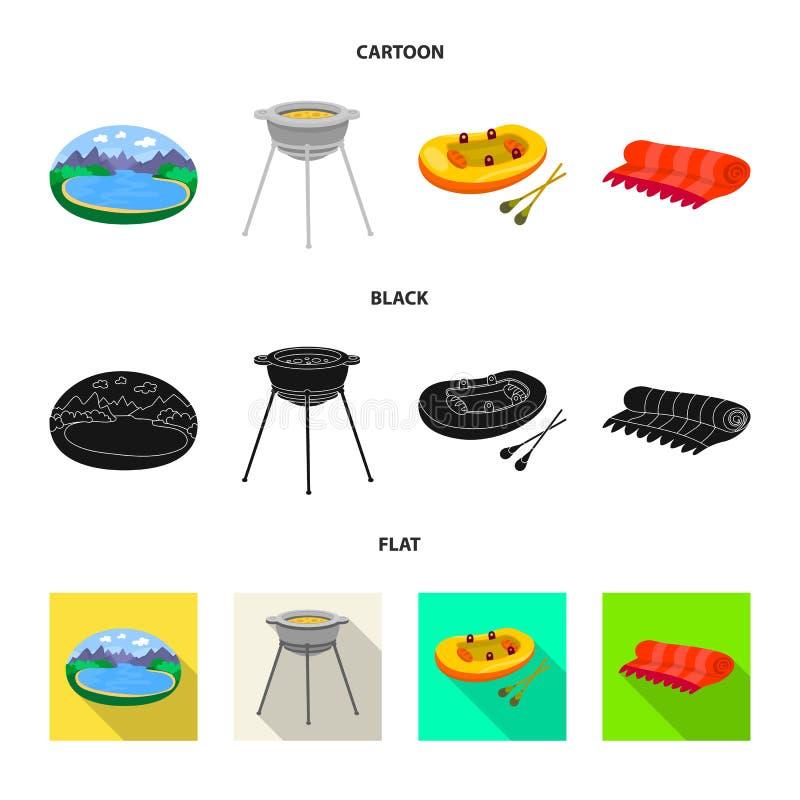 Odosobniony przedmiot cookout i przyrody ikona Set cookout i odpoczynku wektorowa ikona dla zapasu royalty ilustracja