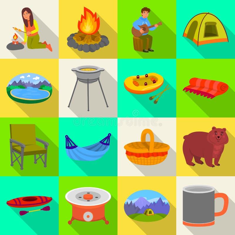 Odosobniony przedmiot cookout i przyrody logo Kolekcja cookout i odpoczynku wektorowa ikona dla zapasu ilustracja wektor