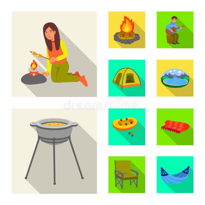 Odosobniony przedmiot cookout i przyrody logo Kolekcja cookout i spoczynkowy akcyjny symbol dla sieci ilustracji