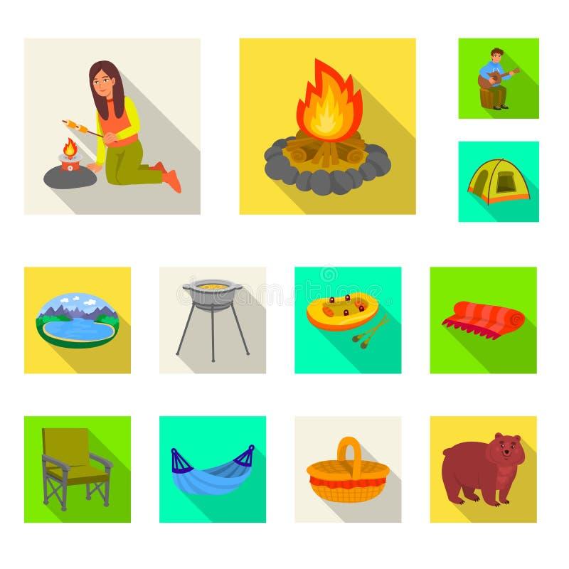 Odosobniony przedmiot cookout i przyrody symbol Set cookout i spoczynkowy akcyjny symbol dla sieci royalty ilustracja