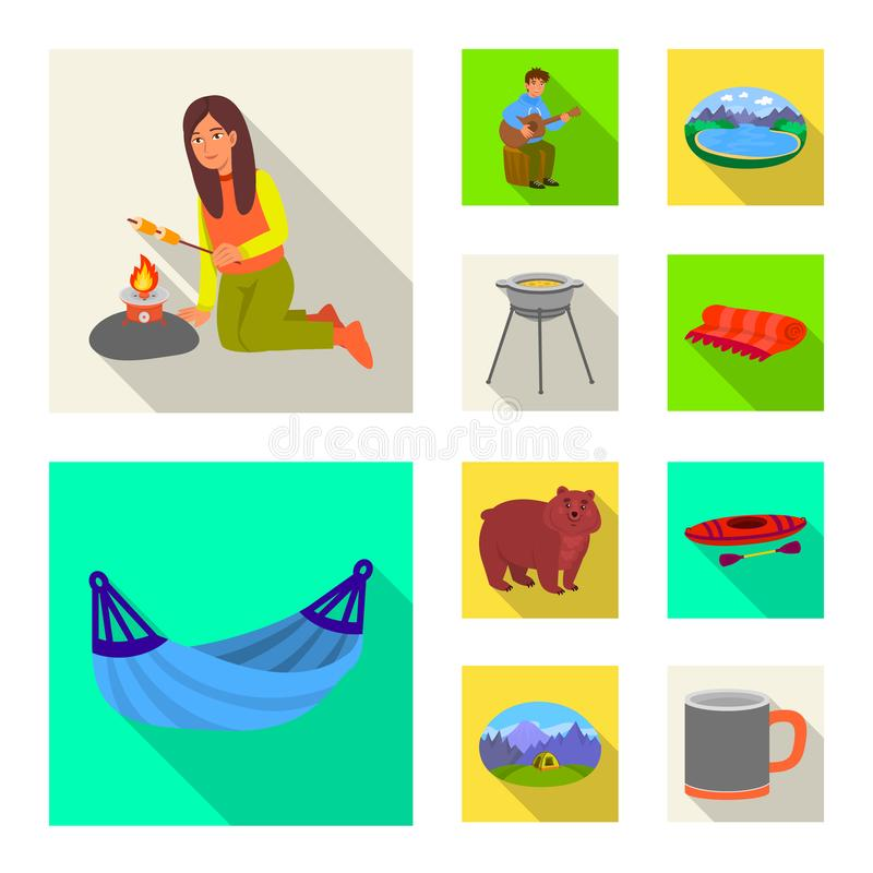 Odosobniony przedmiot cookout i przyrody znak Kolekcja cookout i odpoczynku wektorowa ikona dla zapasu ilustracji