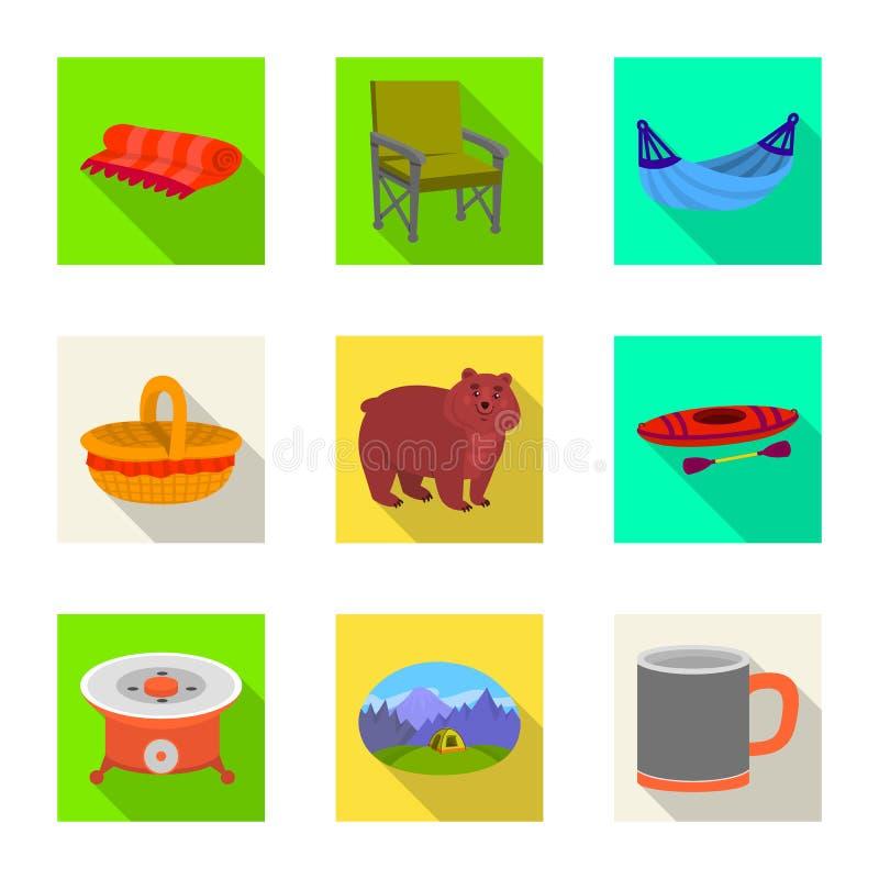 Odosobniony przedmiot cookout i przyrody znak Set cookout i spoczynkowy akcyjny symbol dla sieci royalty ilustracja