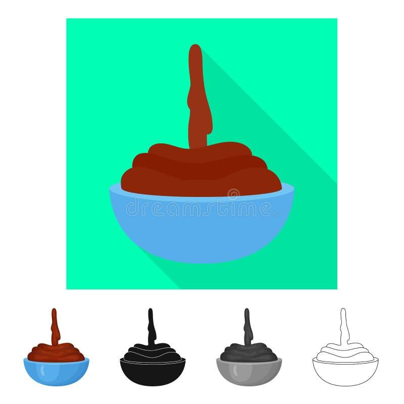 Odosobniony przedmiot czekoladowy i gorący symbol Kolekcja czekolady i str?ka akcyjny symbol dla sieci royalty ilustracja