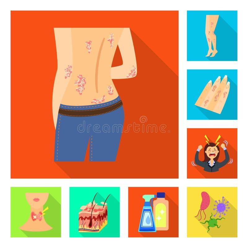 Odosobniony przedmiot dermatologii i choroby ikona Set dermatologia i medyczna wektorowa ikona dla zapasu royalty ilustracja