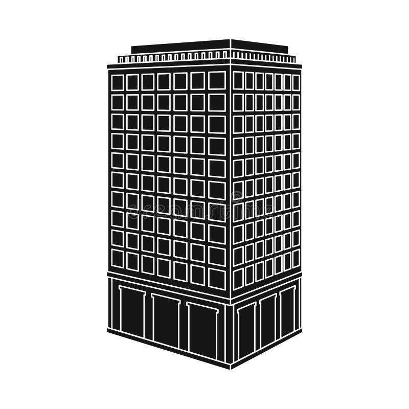Odosobniony przedmiot drapacz chmur i domu ikona Set drapacz chmur i hotelowy akcyjny symbol dla sieci ilustracji
