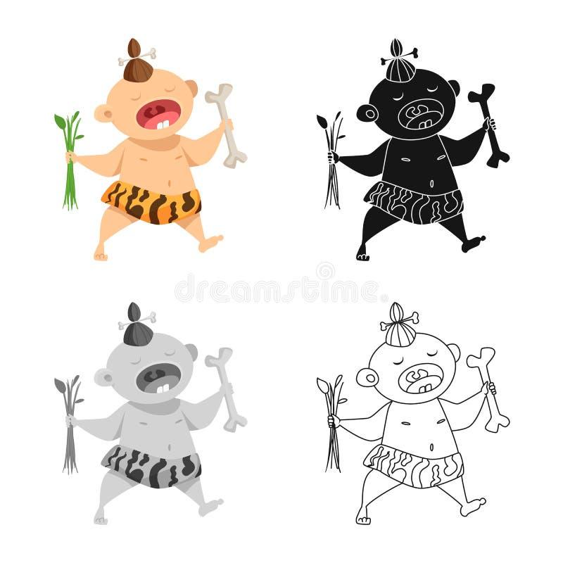 Odosobniony przedmiot dzieciak i prehistoryczny symbol Kolekcja dzieciaka i cukierki wektorowa ikona dla zapasu ilustracji
