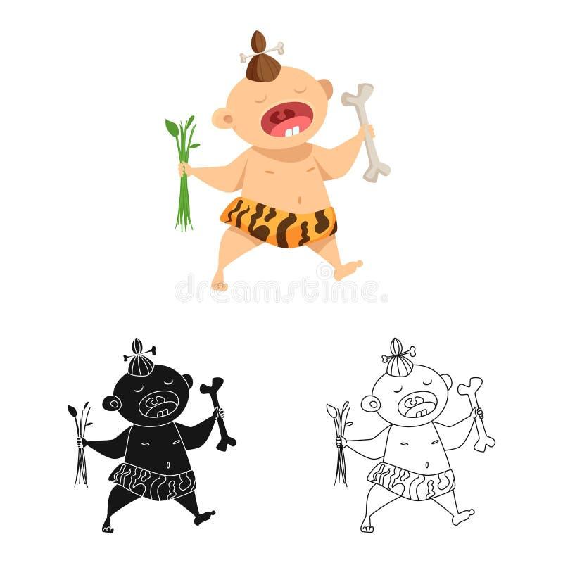 Odosobniony przedmiot dzieciak i prehistoryczny znak Set dzieciak i słodki akcyjny symbol dla sieci royalty ilustracja