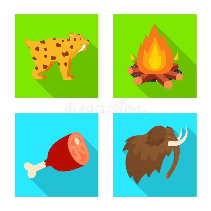Odosobniony przedmiot ewolucja i neolityczna ikona Set ewolucja i pradawna akcyjna wektorowa ilustracja ilustracja wektor