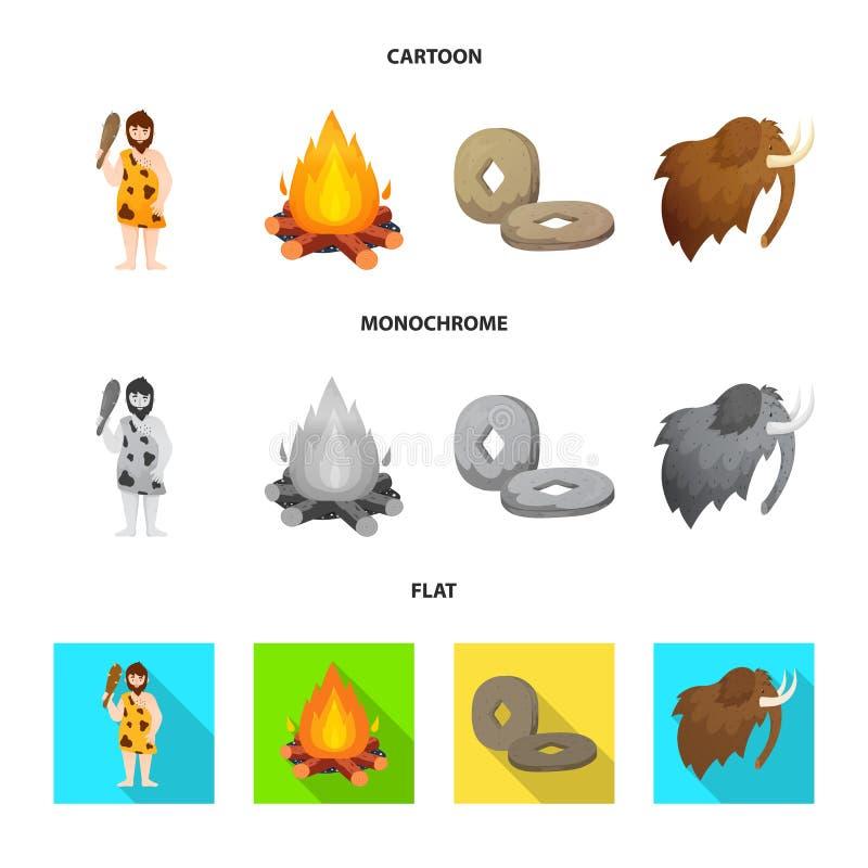 Odosobniony przedmiot ewolucja i neolityczny logo Kolekcja ewolucja i pradawna akcyjna wektorowa ilustracja ilustracji