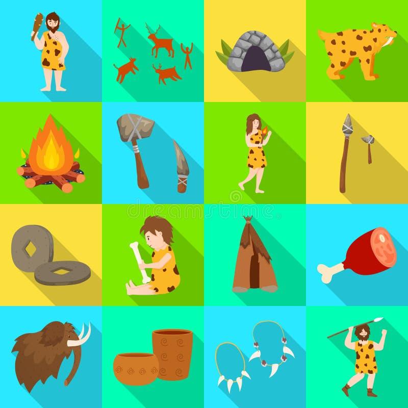 Odosobniony przedmiot ewolucja i neolityczny symbol Kolekcja ewolucja i pradawna akcyjna wektorowa ilustracja royalty ilustracja